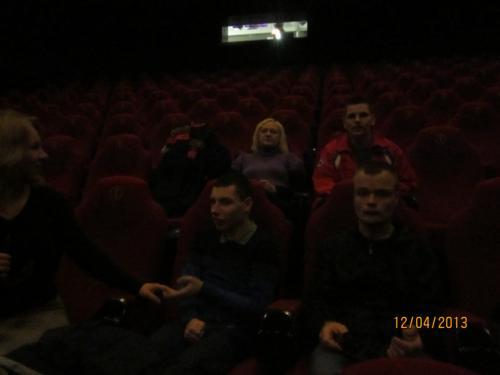 Kino salėje.