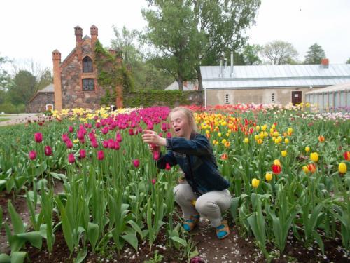 Odeta džiaugiasi tulpėmis