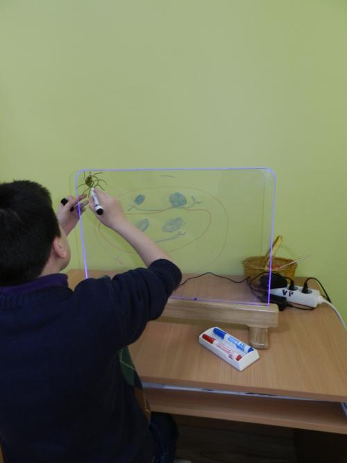 Remigijus piešia ant stiklinio molberto