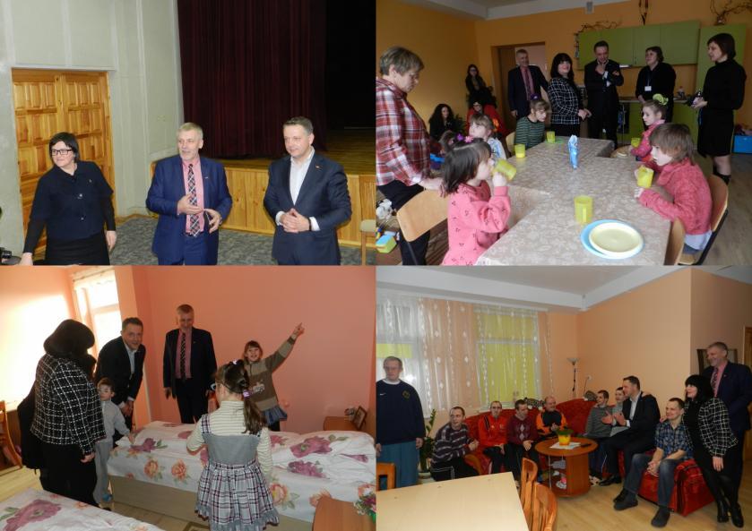 Seimo narys E. Masiulis ir Akmenės rajono savivaldybės administracijos direktorius A. Nicius su savo komandos nariais
